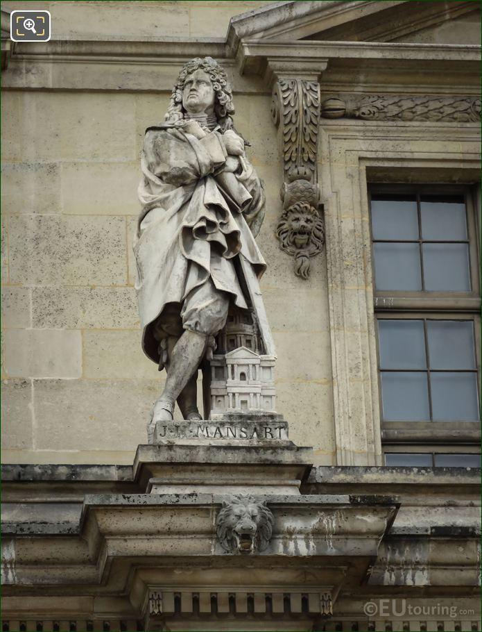 Jules Hardouin Mansart Statue On Aile Mollien