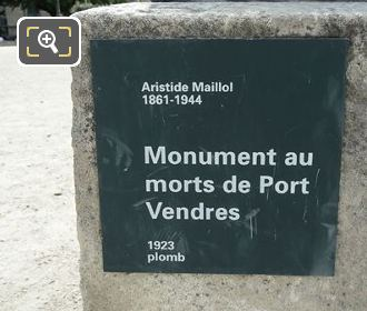 Monument Aux Morts De Port Vendres Plaque