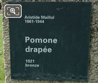 Pomone Drapee Statues Information Plaque On The Base