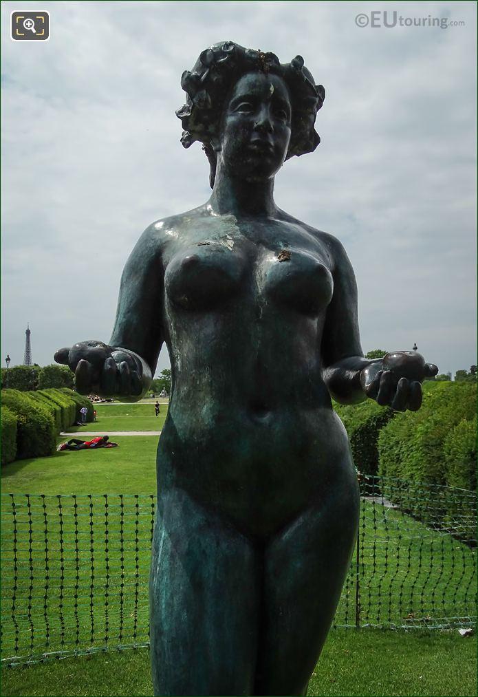 Close Up Of The Bronze Pomone Statue
