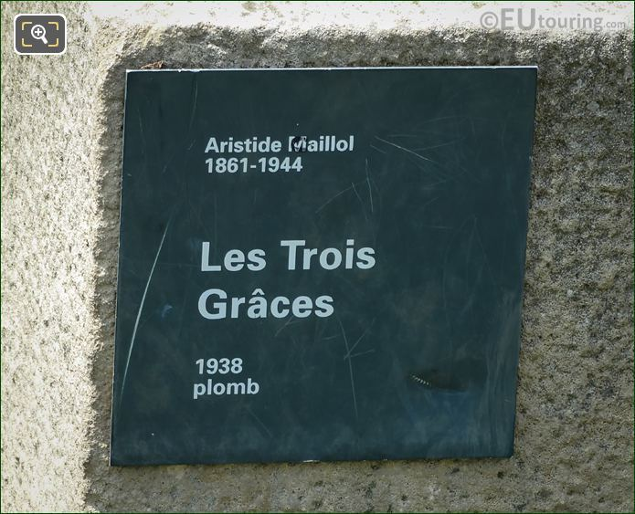 Information Plaque On Les Trois Graces Statue