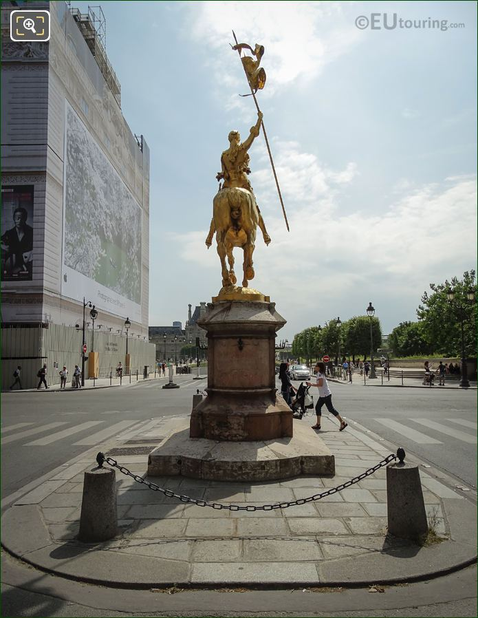 Back Of Golden Joan Of Arc Statue Paris