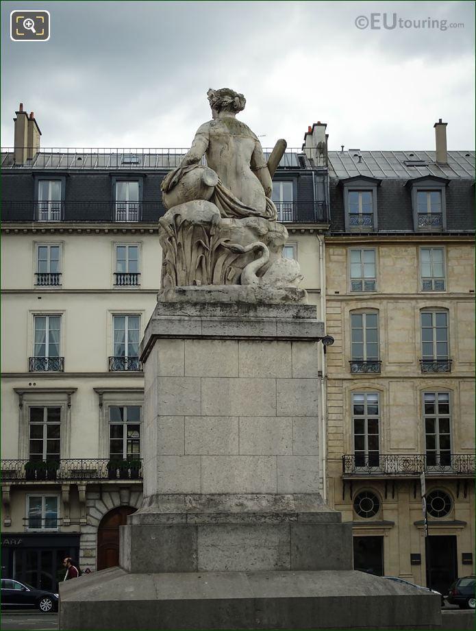 Back Of La Seine Statue On Pont Carrousel