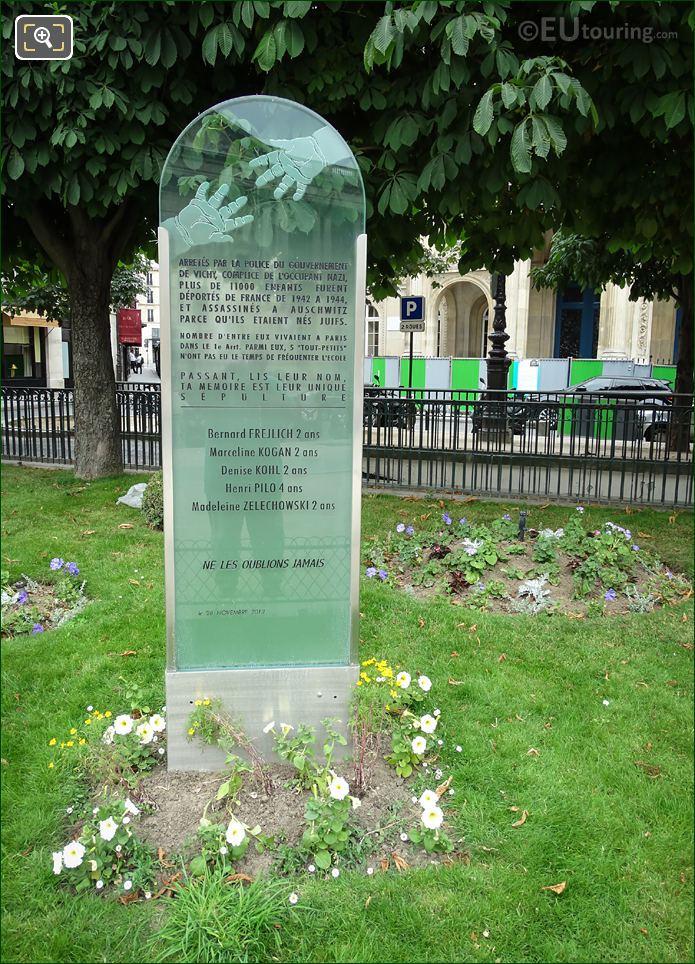 Jewish Children's Monument Inscription