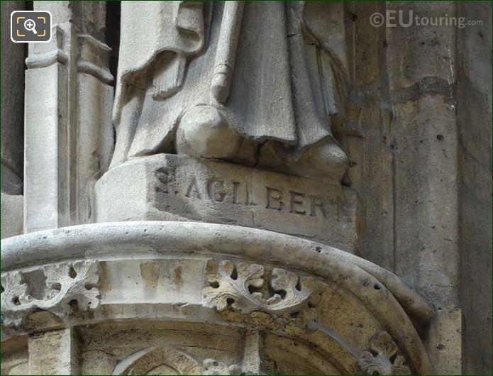 St Agilbert Inscription On Statue Base At Eglise Saint-Germain l'Auxerrois