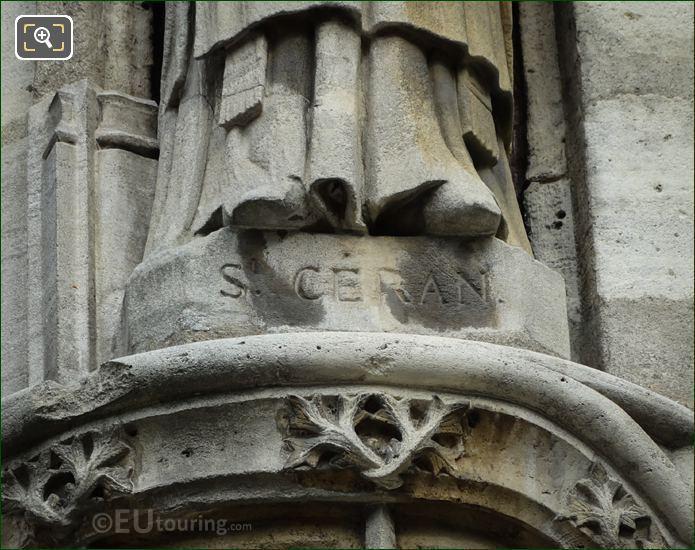 St Ceran Inscription On Saint Ceraunus Statue Base