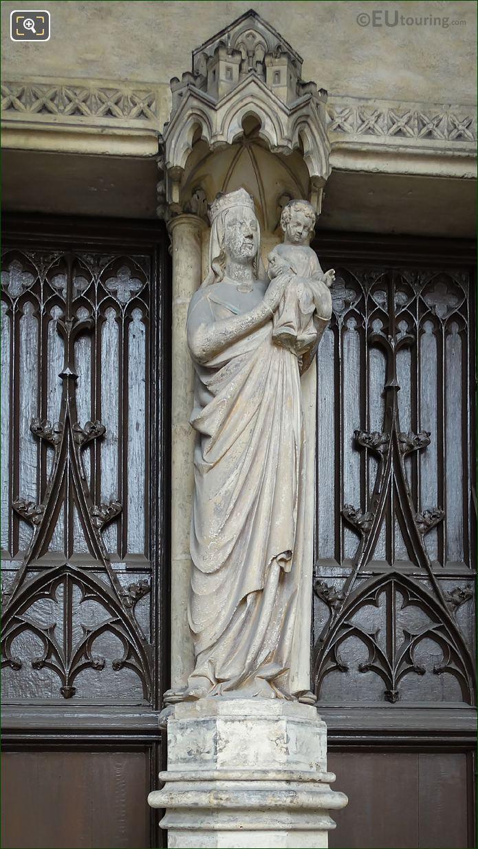 Virgin And Child Statue On Eglise Saint Germain l'Auxerrois