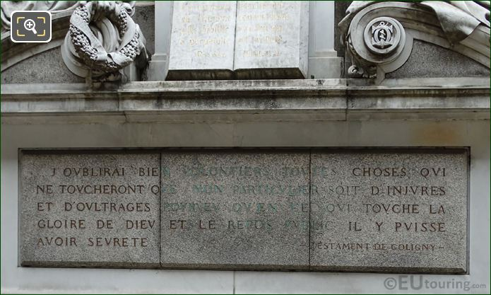Gaspard De Coligny Monument Inscription