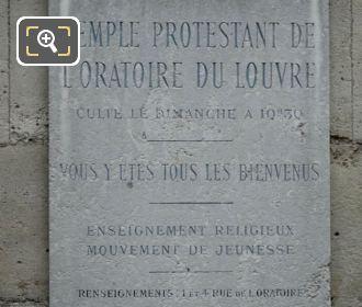 Temple Protestant De l'Oratoire Du Louvre Plaque
