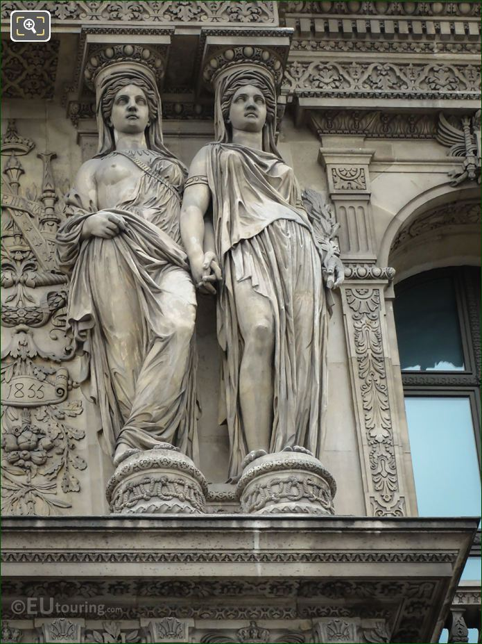 Caryatid Sculptures On RHS Of Pavillon De La Bibliotheque