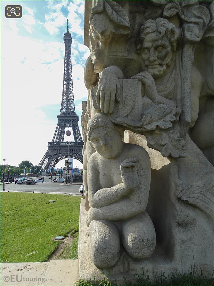 La Joie De Vivre Statue And Eiffel Tower