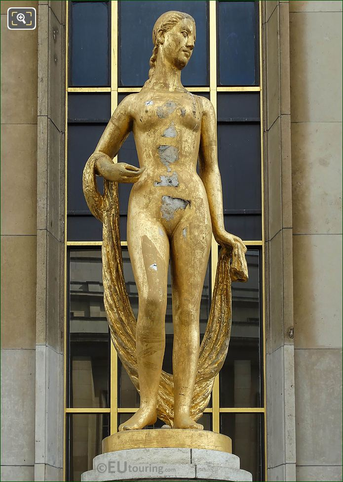 Golden Flore Statue By Artist Marcel Gimond