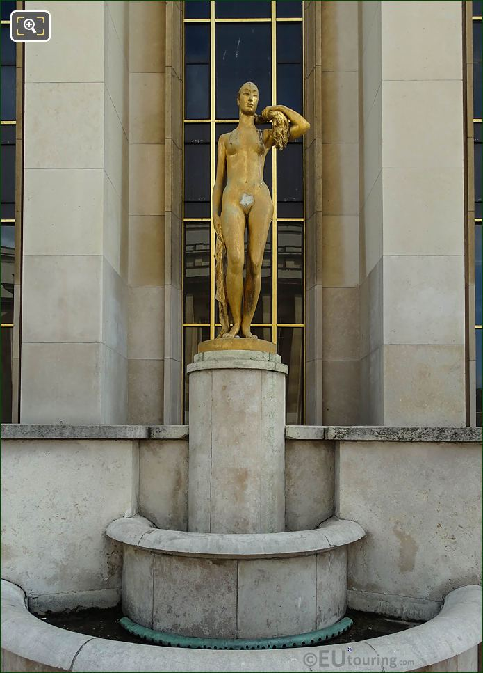 Front Of Golden Le Matin Statue Palais Chaillot