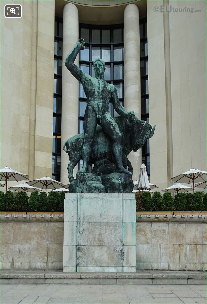 Front Of Bronze Hercules And Bull Statue