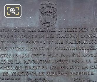 Plaque On 1871 Yorktown Campaign Monument