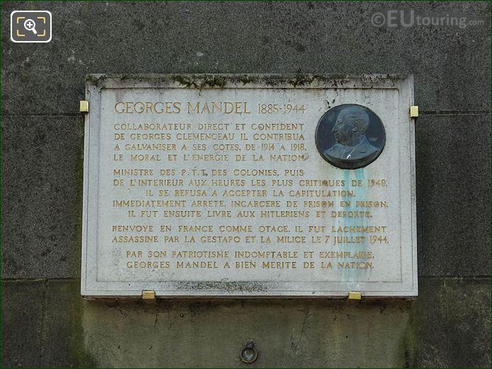 Georges Mandel Plaque In Place Trocadero