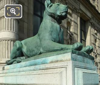 Porte Jaujard RHS Lioness Statue On Stone Base