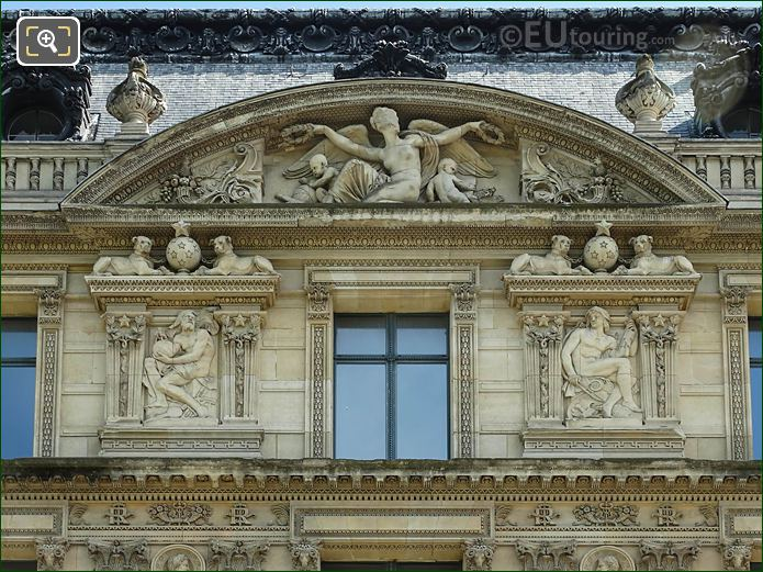 Window And Pediment Sculpture Aile Marsan Musee Louvre