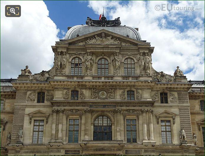 Pavillon Sully Facade With La Paix Et La Guerre