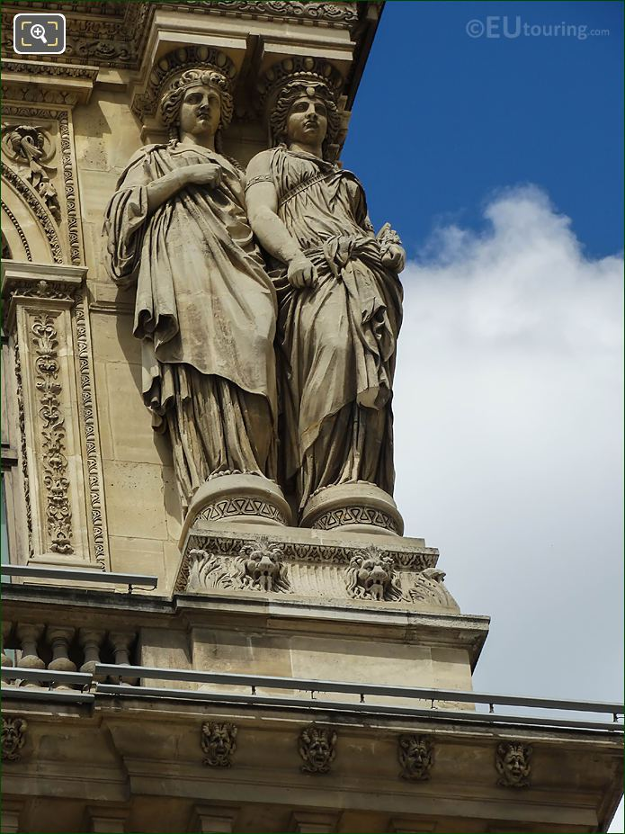 RHS Caryatids Sculptures On Pavillon Richelieu Paris