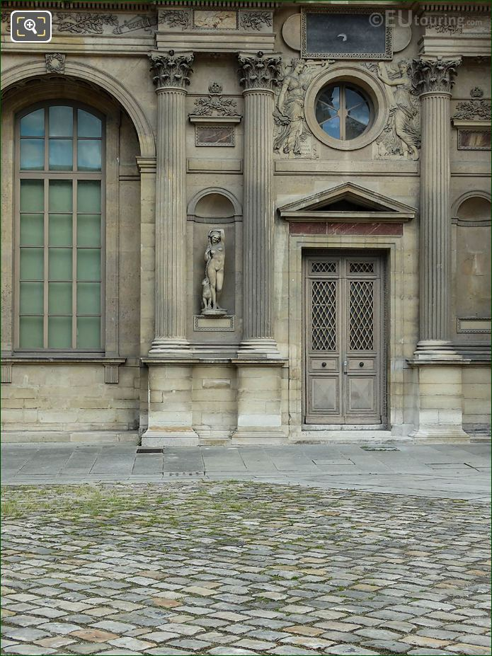 West Facade Aile Est With Marble Bacchante Statue