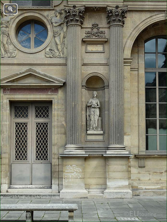 West Facade Aile Est With Pandore Statue