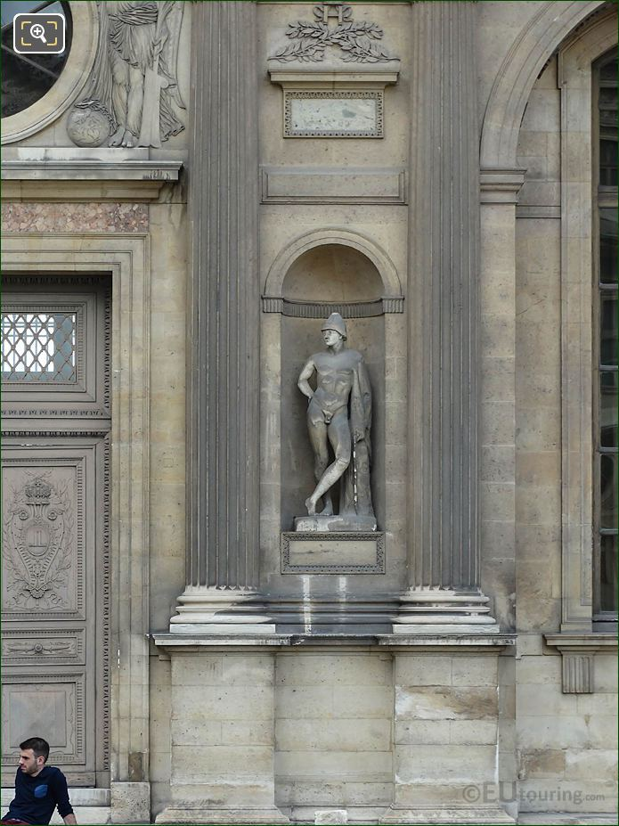 East Facade Aile Lescot Prince Of Troy Statue