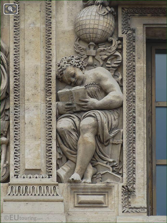 Genie De l'etude Lisant Sculpture On Aile Lescot At Musee Du Louvre