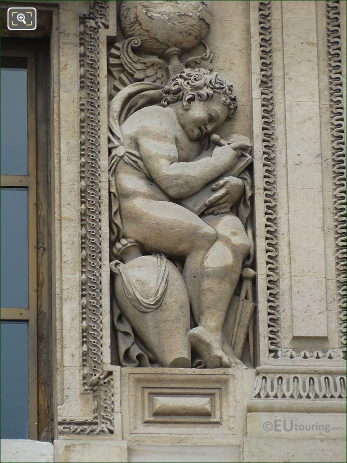 Genie De l'etude Ecrivant Sculpture On Aile Lescot At Musee Louvre