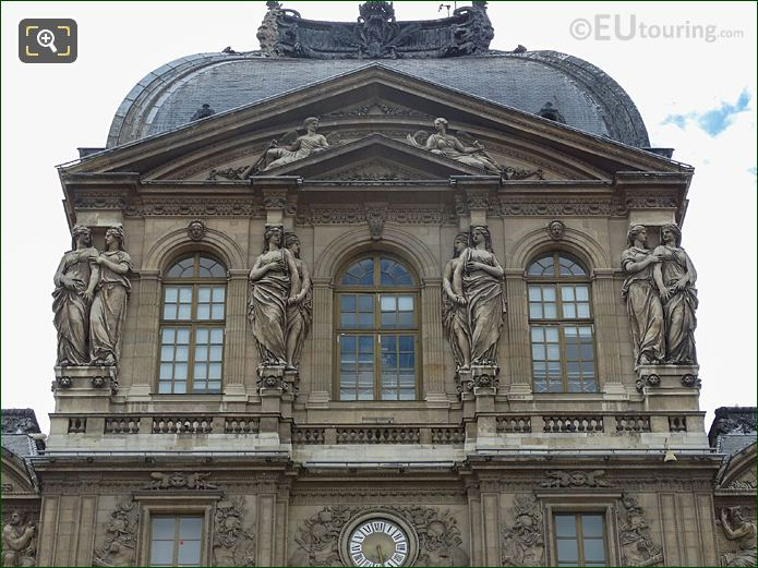Caryatid Sculptures Pavillon De l'Horloge Top Windows