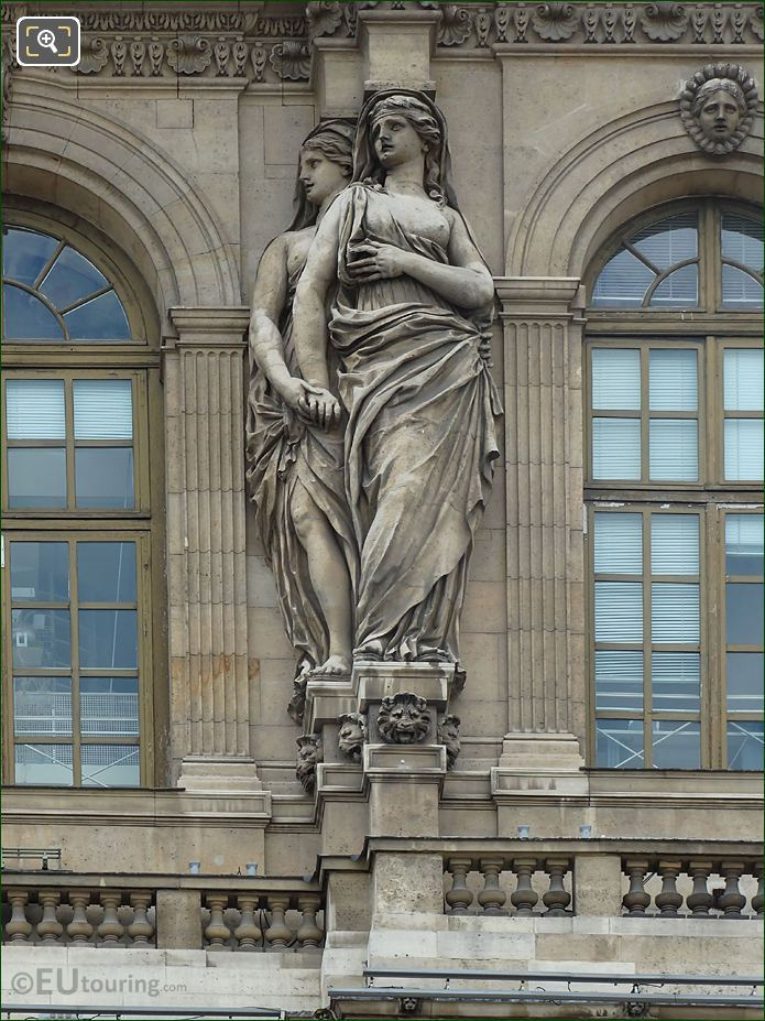 Caryatid Sculptures Third From Left Hand Side On Pavillon De l'Horloge