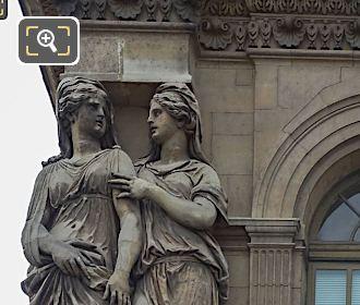 Left Hand Side Caryatid Sculptures On Pavillon De l'Horloge