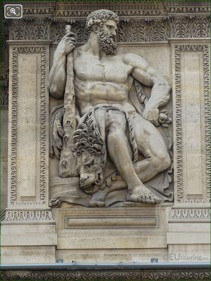 Hercules Sculpture On Aile Lemercier At Musee Du Louvre