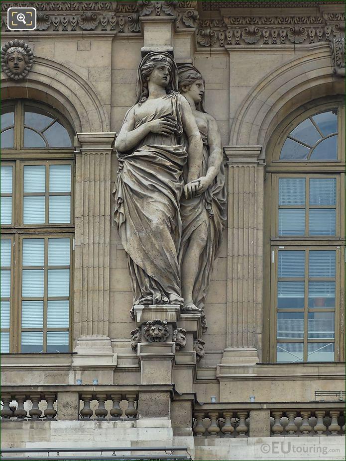 Second From Left Hand Side Caryatid Sculptures On Pavillon De l'Horloge