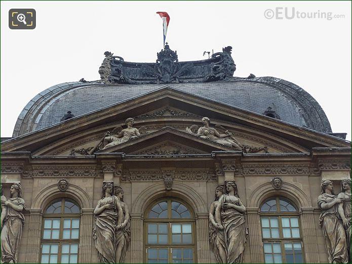 Pavillon De l'Horloge Pediment With Renommee Statues