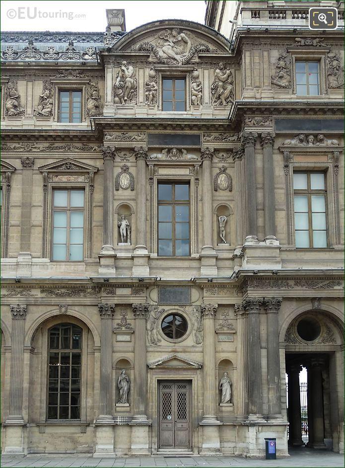 Eastern Facade Of Aile Lescot With Genie De l'etude Ecrivant Sculpture