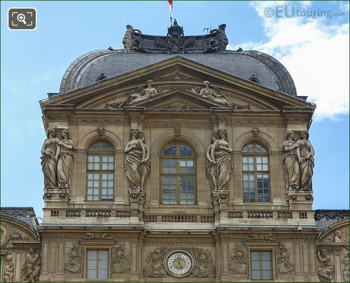 Top Facade Of Pavillon De l'Horloge With Caryatid Sculptures