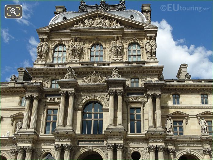 Pavillon Richelieu Facade With Caryatid Sculptures