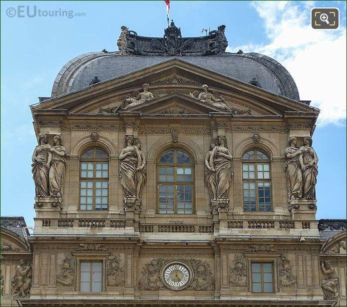 Caryatid Sculptures On Pavillon De l'Horloge At Musee Du Louvre
