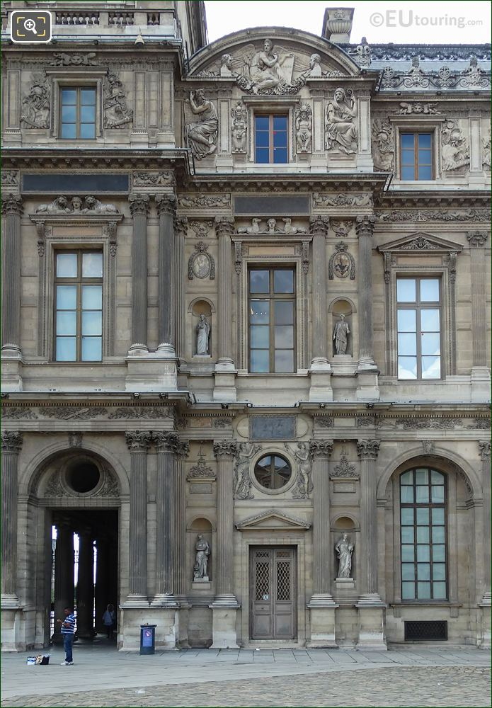 East Facade Of Aile Lemercier At Musee Louvre With Incas Sculpture