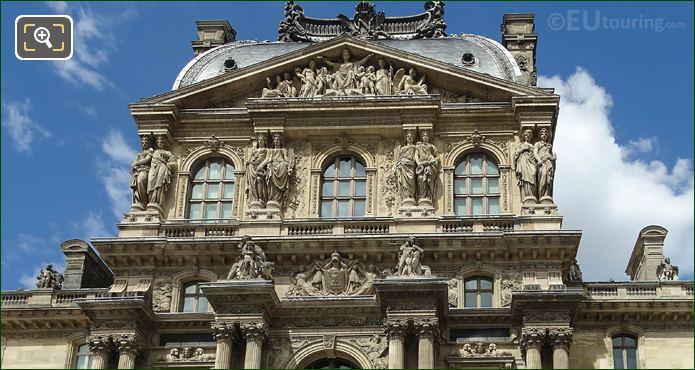 Top Facade Pavillon Richelieu Musee Du Louvre