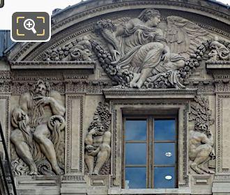 Neptune Sculpture East Facade Aile Lescot Musee Louvre