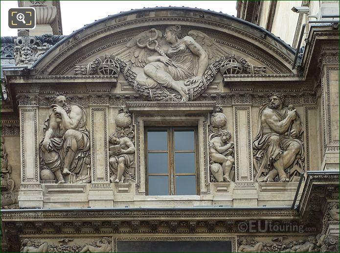 Third Floor Of Aile Lescot With Genie De l'etude Lisant Sculpture