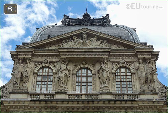 Pavillon Sully Top Facade Caryatid Sculptures