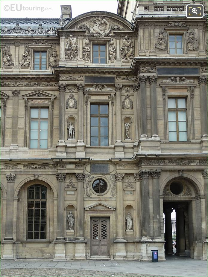 East Facade Aile Lescot With Archimedes Sculpture