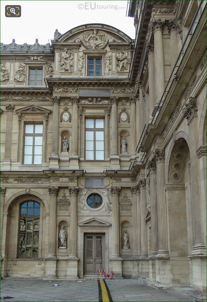 East Facade Of Aile Lemercier With Homer Statue At Musee Du Louvre