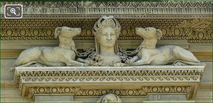 Right hand side 1st window animal sculpture on Aile de Marsan