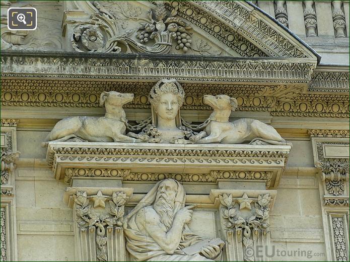 Aile de Marsan right hand side 1st window animal sculpture