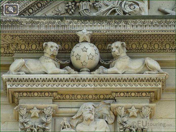 2nd window left hand side Groupe d Animaux sculpture on Aile de Marsan
