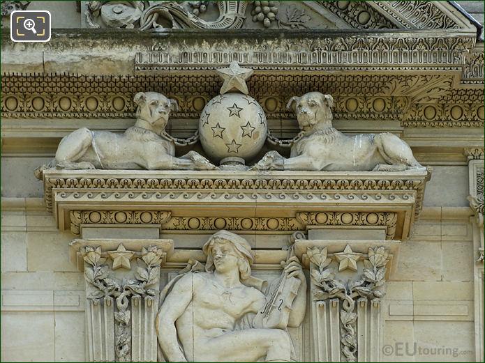 Aile de Marsan second window right hand side dog sculptures
